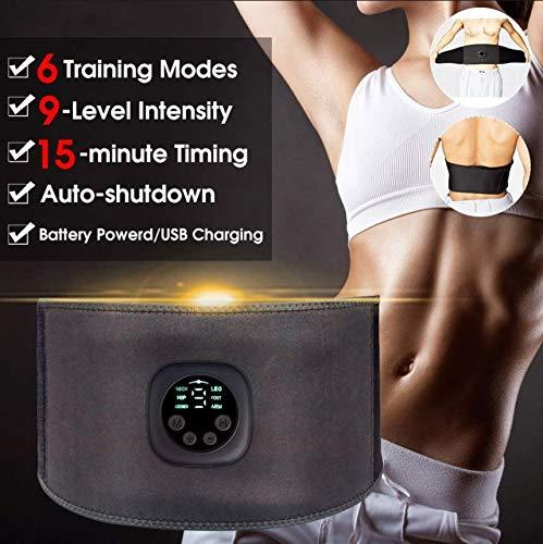 Bauchtrainer Elektrischer Gürtel EMS Ab Stimulator Elektronischer Bauchgurt Muskel Taillentrainer 6 Massagemodi 9 Stufen Vibrationsgürtel mit einstellbarer Intensität