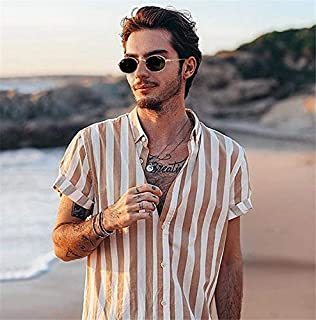 YSY-CY 2019 Men's Short Sleeve V-Neck Striped Button Up Shirt Summer Casual Blouse Tee Tops Suitable for outdoor travel/daily wear at work (Color : Yellow, Size : L)