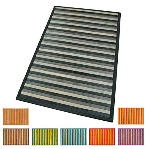 Bambus-Teppich aus Holz, für Küche, Badezimmer, Schlafzimmer, Degradé, verschiedene Größen, Frühstücksbrettchen mit rutschfester Rückseite, Modell: Bambus, 50 x 95 cm, Schwarz