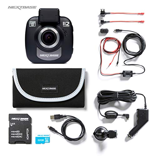 Nextbase 112 720p HD In-Car Dash Camera Video Recorder, Bundle Kit with Mount, Hardwire Kit, 32GB SD Card and Case