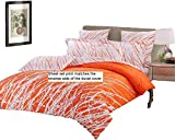 Tree 4 Piece 100% Cotton Sheet Set: Fitted Sheet, Flat Sheet and A Pair of Pillowcases (Orange-White, Queen)