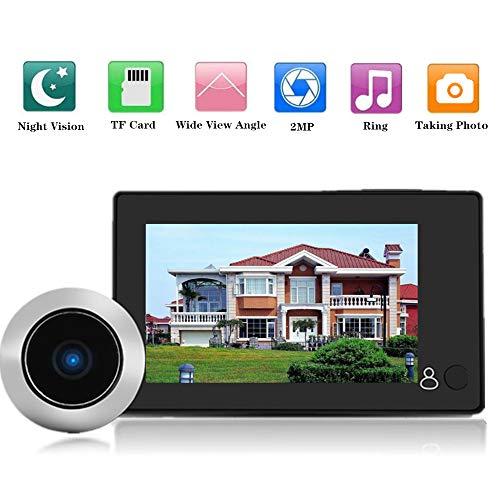 """Garsent Timbre de Video Digital de 4.3\"""", Visor de Mirilla de Puerta Digital Inteligente HD 1MP LCD con Gran Angular de 140 ° Alimentado por batería o Banco de energía para el hogar"""
