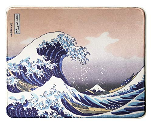 12 x 10 inches Japan Art The Great Wave by Hokusai Natural Rubber Stitched Edge Office Gaming Mouse Pad