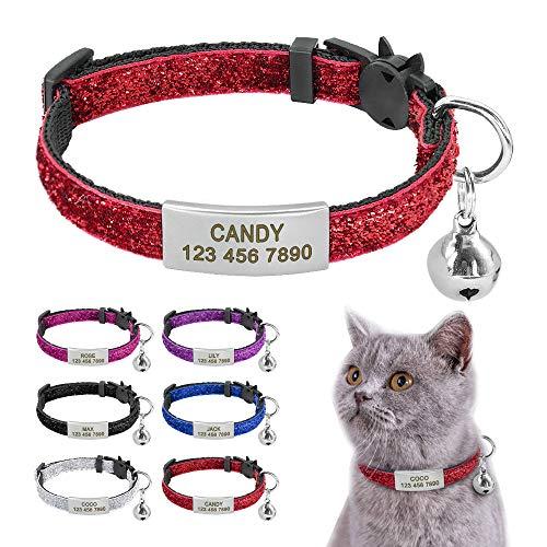 Beirui Katzenhalsbänder mit Edelstahl-Anhänger zum Aufschieben mit Schnellverschluss-Schnalle/Glocke – Bling Nylon Custom ID Halsband für Kätzchen (17,8–26,7 cm Hals)
