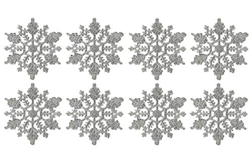 Mini 3inch Plastic Snowflake Ornaments,tiny 24pcs Sparkling silver Iridescent Glitter Snowflake Ornaments on String Hanger for Decorating, Crafting and Embellishing (3inch, silver)