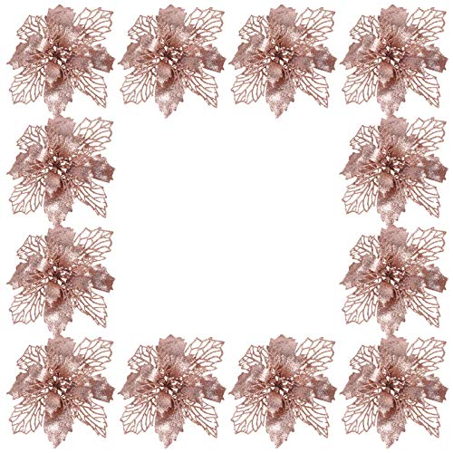 NUOBESTY 12pcs Rose Gold Glitter Poinsettia Artificial Christmas Flower Hollow Simulation Flower Tree Decoration Xmas Holiday Party Wreath Garland Bunting Decorations