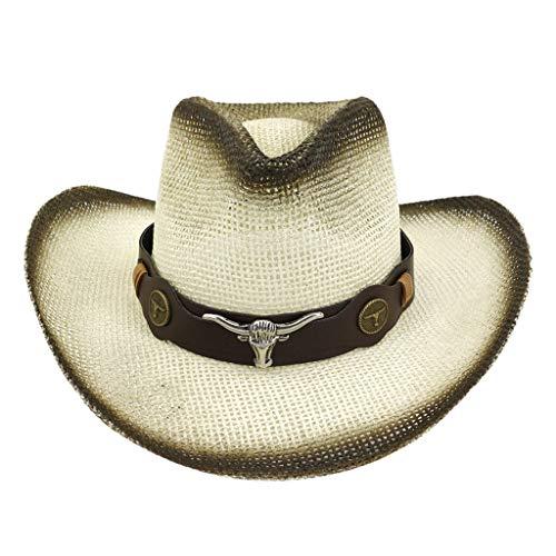 jieGorge Men Women Retro Western Cowboy Riding Hat Leather Belt Wide Cap Hat, Hat, Clothing Shoes & Accessories Sales (Coffee)
