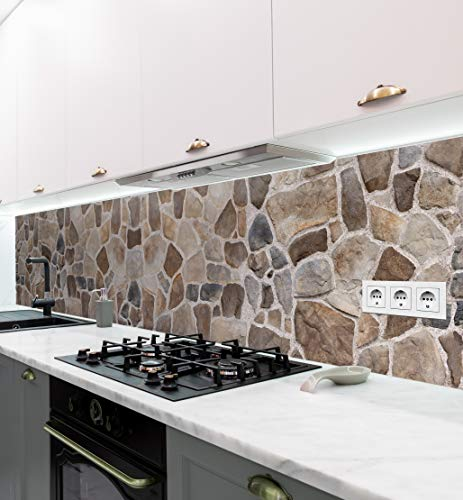 MyMaxxi | selbstklebende Küchenrückwand Folie ohne bohren | Aufkleber Motiv Mauer 04 | 60cm hoch | adhesive kitchen wall design | Wandtattoo Wandbild Küche | Wand-Deko | Wandgestaltung