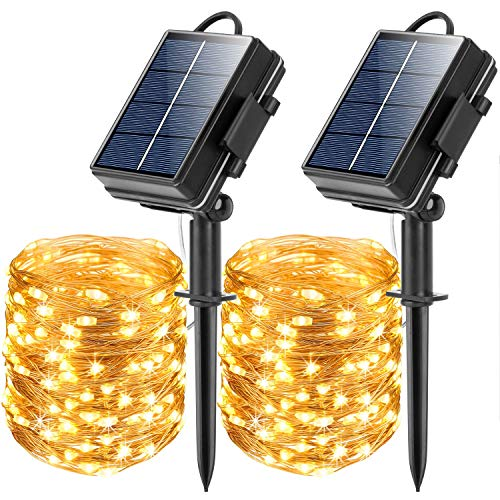 Solar String Lights Outdoor,Solar Fairy Lights,2 Pack 65.6FT 200LED Upgraded Super Bright Solar Lights Outdoor, Waterproof Decorations Rope Lights for for Garden,Patio,Yard,Christmas,Birthday Party
