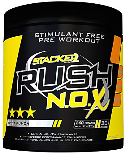 Stacker2 Rush N.O.X Booster Pre-Allenamento Per Bodybuilding, Punch Di Frutta - 360 g