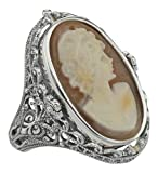Hand Carved Italian Shell Cameo/Onyx Filigree Flip Ring - Sterling Silver