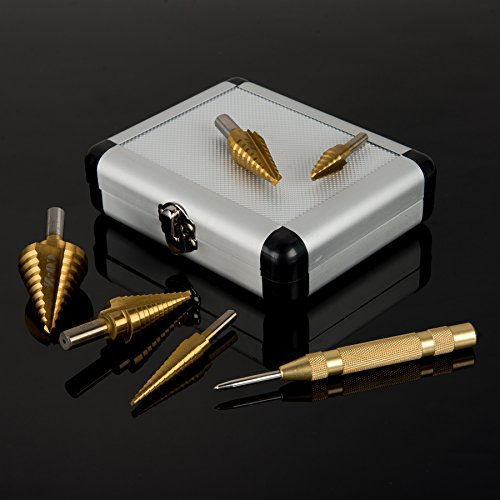 CO-Z HSS 5PCS Titanium Step Drill Bit Set with Automatic Center Punch, 50 Sizes in 5 High Speed Steel Drill Bits Set for Sheet Metal with Aluminum Case, Multiple Hole Stepped Up Bits for DIY Lovers