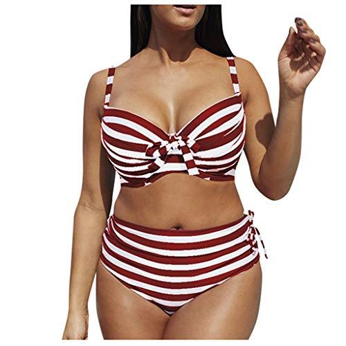 Fenverk Bikini Tankini Bademode Badeanzug Monokini Retro Groß Größe Sets Plus Size Bandeau High Waist Bikini Damen Bauchweg,Halter Rüschen Hoher Taille Zweiteilige Strandkleidung(B Wein,XXL)