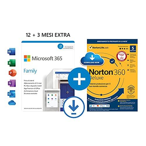 Microsoft 365 Family | fino a 6 persone | 1 abbonamento annuale |12+3 Mesi | PC Mac | Codice d attivazione via email + NORTON 360 Deluxe |15 Mesi - Codice d attivazione via email