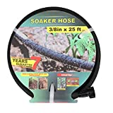 Taisia 3/8'' Soaker Hose 25 FT 50 FT Garden Soaker Hose with Push on Fittings Lead Drip Hose Saves 70%Water Heavy Duty Soaker Hose for Garden, Lawn (3-8-25FT)