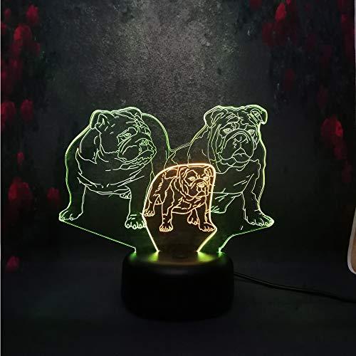 Ilusión óptica LED 3D lámpara de mesa juguete para niños regalo tridimensional modelo de familia de perros luz de tono mixto creativo luz de noche decoración regalo USB