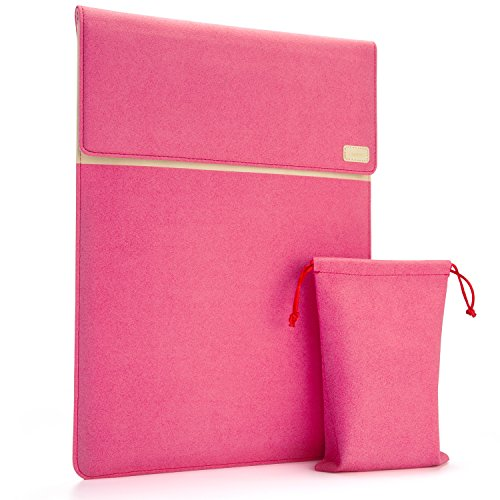 RANVOO Alcantara Laptop Sleeve Bag Slim Portative Case Handbag Cover Compatible 13133 Inch Notebook Tablet Ultrabook Apple MacBook Air/ProDellHPLenovoThinkPadAcerMicrosoft Surface  Red