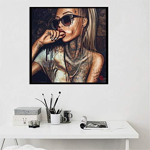 BailongXiao Tatuaje Gafas de Sol Hip Hop Mujer Lienzo Pintura Belleza Personaje Cartel Arte de la Pared para Sala Mural,Pintura sin Marco,40x40cm