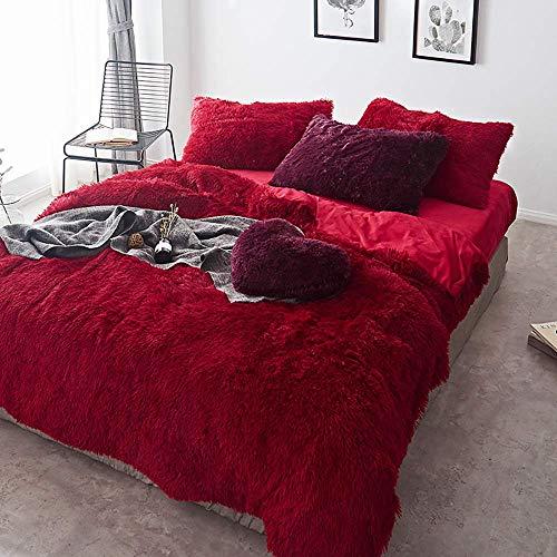 Ropa de cama Juegos de fundas nórdicas Funda nórdica Juegos de sábanas de terciopelo gris doble Funda nórdica blanca de tamaño doble Juego de cama doble...