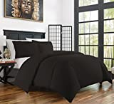 Zen Bamboo Ultra Soft 3-Piece Rayon Derived From Bamboo Duvet Cover Set -Hypoallergenic and Wrinkle Resistant - King/Cal King - Black