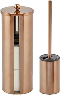 mDesign Moderno juego de baño de 2 piezas – Cepillo de baño con portaescobillas y porta rollos de papel higiénico de acero...