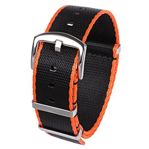 PBCODE Seat Belt Nylon NATO Strap Heavy Duty Military G10 Watch Band Replacement Watch Straps 22mm Black Orange