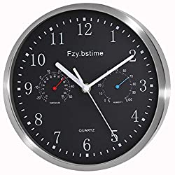 Fzy.bstim Non Ticking Silent Wall Clocks Battery Operated,10 Inch Quality Quartz Analog Wall Clock with Thermometer and Hygrometer,Decorative for Kitchen,Living Room,Bathroom,Office,Garage(Black)