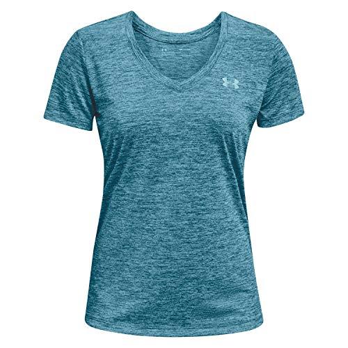 Under Armour Women's Tech V-Neck Twist Short Sleeve T-Shirt, Crest Blue (446)/Metallic Silver, Medium