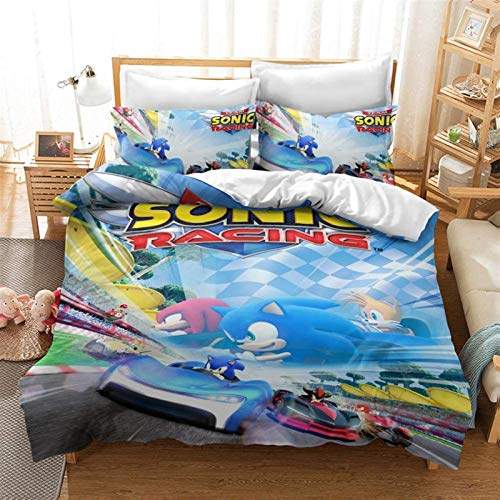 Conjunto de ropa de cama 3D cubierta de edredón, Sonic The Hedgehog Duvet Cover Duvet Cover Anime Bed Lino Conjunto de ropa de cama impreso 3D Conjunto de ropa de cama impresa adecuada para niños, niñ