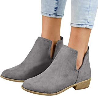 Womens Cutout Fall Ankle Boots Block Stacked Low Heel Booties Slip On Western Dress Shoes