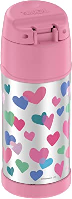THERMOS FUNTAINER F4101 Stainless Steel Kids Bottle, 12 Ounce, Hearts