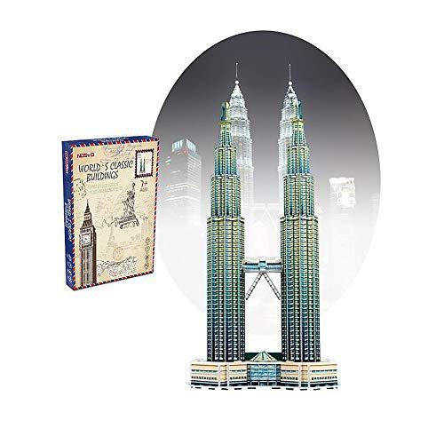 SLCE 3D Puzzle Fur Kinder, Petronas Türmepuzzle Architekturmodellbausätze Modellbau Geschenk Für Erwachsene Und Kinder, Bastelspass Für Jung Und Alt, Farbig, 37 Teile