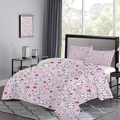 Yoyon Bedding Duvet Cover Set Loveable Bunnies Numerous Facial Expressions Smiling Winking Sleeping Determined Hotel Stitch Duvet Cover Set Hypoallergenic, Breathable Pink Baby Pink