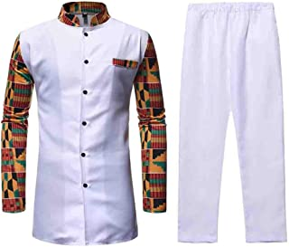 Beautyfine Men's African Style Two-Piece Set Medium Long Muscle Tee Stand Collar Print Colorblock