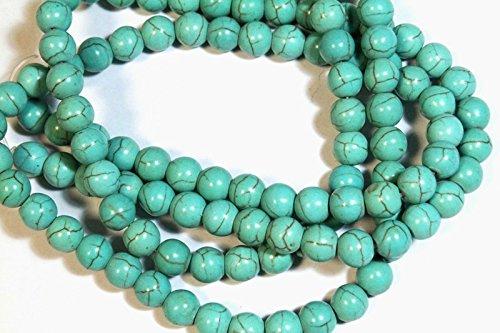 95 Turquesa Collar de Perlas de Piedra Natural de Piedra 4 mm Perlas de Piedras Preciosas Perlas Azul Redondo Media Strang