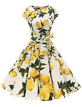Dressystar Women Vintage 1950s Retro Rockabilly Prom Dresses Cap-Sleeve M Lemon