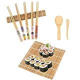 Elezenioc Kit à Sushi,9 Pièces Kit Sushi Maki en Bambou pour Débutant - 2 Assiettes de Tapis à Rouler, 5 Paires de Baguettes,1x Palette de riz,1x Spatule à riz,Appareil à Sushi Kit Sushi