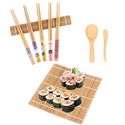 Elezenioc Set per Sushi in Bambù, Set per Sushi Maker per Principianti 9 Pezzi - 2 Tappetini per Sushi Roll, 5 Paia di Bacchette, 1x Cucchiaio in Bambù, 1x Paddle Paddle, Set per Sushi in Bambù