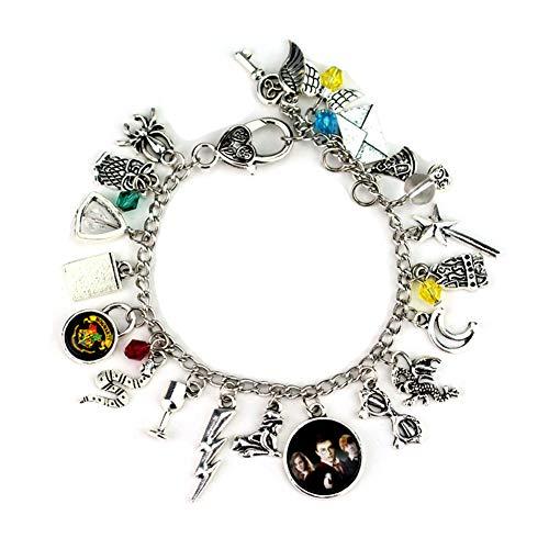 Lispeed Harry Potter Armband Set Charms Bettelarmband Anhänger Silber Blitz Eule Flügel Satellit Spinne Mond Brille Schlüssel Zauberstab Armbänder, Einheitsgröße