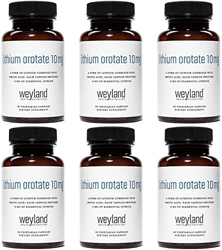 Weyland Brain Nutrition: Lithium Orotate 10mg (1 Bottle), 60 Vegetarian Capsules, Lithium Supplement Supports Healthy Mood, Behavior, Memory and Wellness