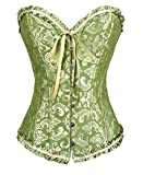 Keephen Women's Vintage Gothic Lace Up Boned Overbust Classic Floral Corset Top Bustier Green