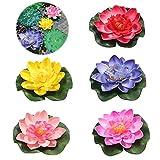 5 Stück Schwimmende Blumen,Künstliche Seerosen,Seerose Lotusblüte,Schwimmende Blumen,schwimmend Lotusblüten,Lotusblüte Wasserlilie,Artificial Lotus,Seerose,Schwimmende Teich Dekoratio (Farbe)
