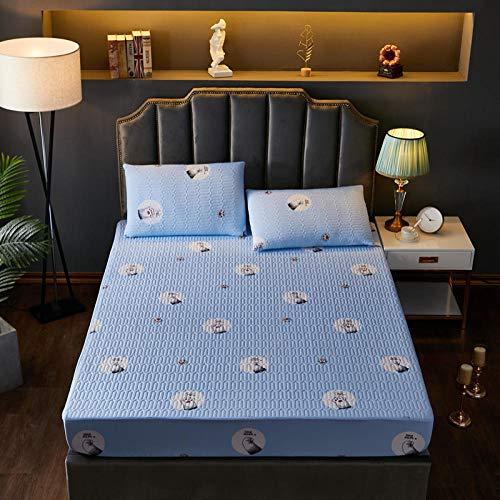CYYyang Funda de Colchón con Tratamiento Antiácaros y Transpirable Cubierta Protectora de sábana Gruesa-Azul Cielo [impresión] _200 * 220cm