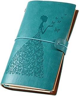 レザージャーナル レトロ 交換可能 旅行用ノートラベル ジャーナル 女性用 罫線入りノートブック(ブルー)