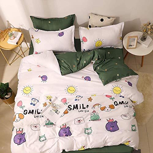 DPJ Bonita funda de edredón con estampado de animales, para niñas individuales y dobles, de poliéster, A, 150 x 200 cm