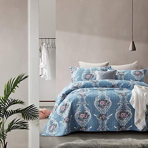 Bedsprei gewatteerd, Zachte Sprei, Klassieke Bloemen, Blauw, Tweepersoons, 260 x 250 cm, incl. bijpassende Sierkussenslopen