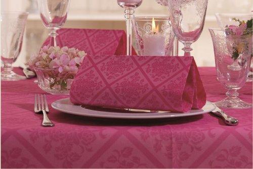 Airlaid, 50 servetten, voelen aan als stof, 1/4-vouw 40 cm x 40 cm, ornamenten, fuchsia, roze paars, voor bruiloft, verloving, doop.