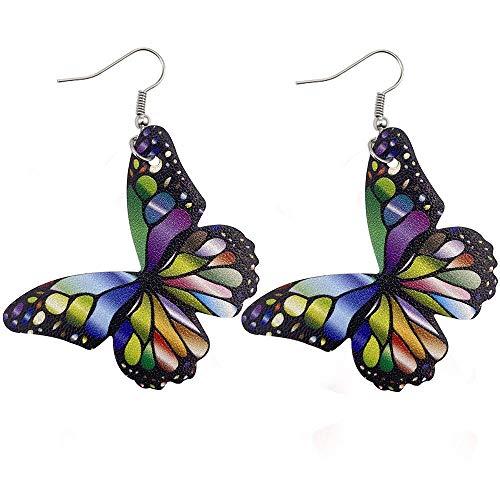 FEISHUO Aretes Nuevos Pendientes de cuero de mariposa Pendientes de cuero de PU estampados a doble cara Pendientes 02