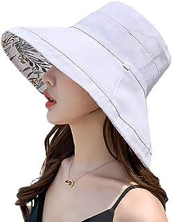 Tionmax UVカット帽子 両面着 レディース 大きいサイズ 紫外線100%カット 綿麻 つば広 UVカット UV 帽子 レディースハット 大きいサイズ 綿ポリブリムUVハット 日よけ 折りたたみ 取り外すあご紐