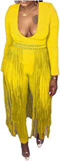 neveraway Women's Slim Fit Long-Sleeve Fringe V-Neckline Jumpsuits Rompers